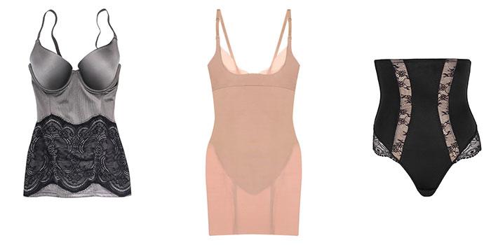"""מימין: תחתונים מחטבים של דונה קארן, תחתית מחטבת מיידנפורם לג'ק קובה וגופיית מחטב ג'ק קובה. צילום: יח""""צ חו""""ל"""