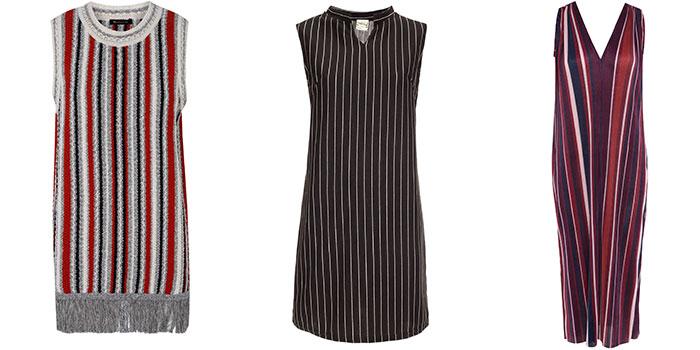 """שמלותמפוספסות. מימין: הוניגמן, מאיושה ומסימו דוטי. צילום: אלעד חיזקי, דן מילר ויח""""צ"""