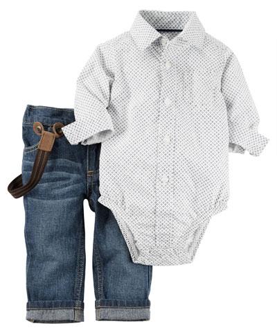 ג'ינס עם שלייקס ובגד גוף מכופתר. קרטר'ס (צילום: טל טרי)