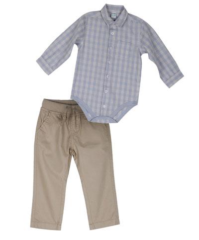 מכנס בז' עם בגד גוף מכופתר. גולף בייבי (צילום: שי נייבורג)